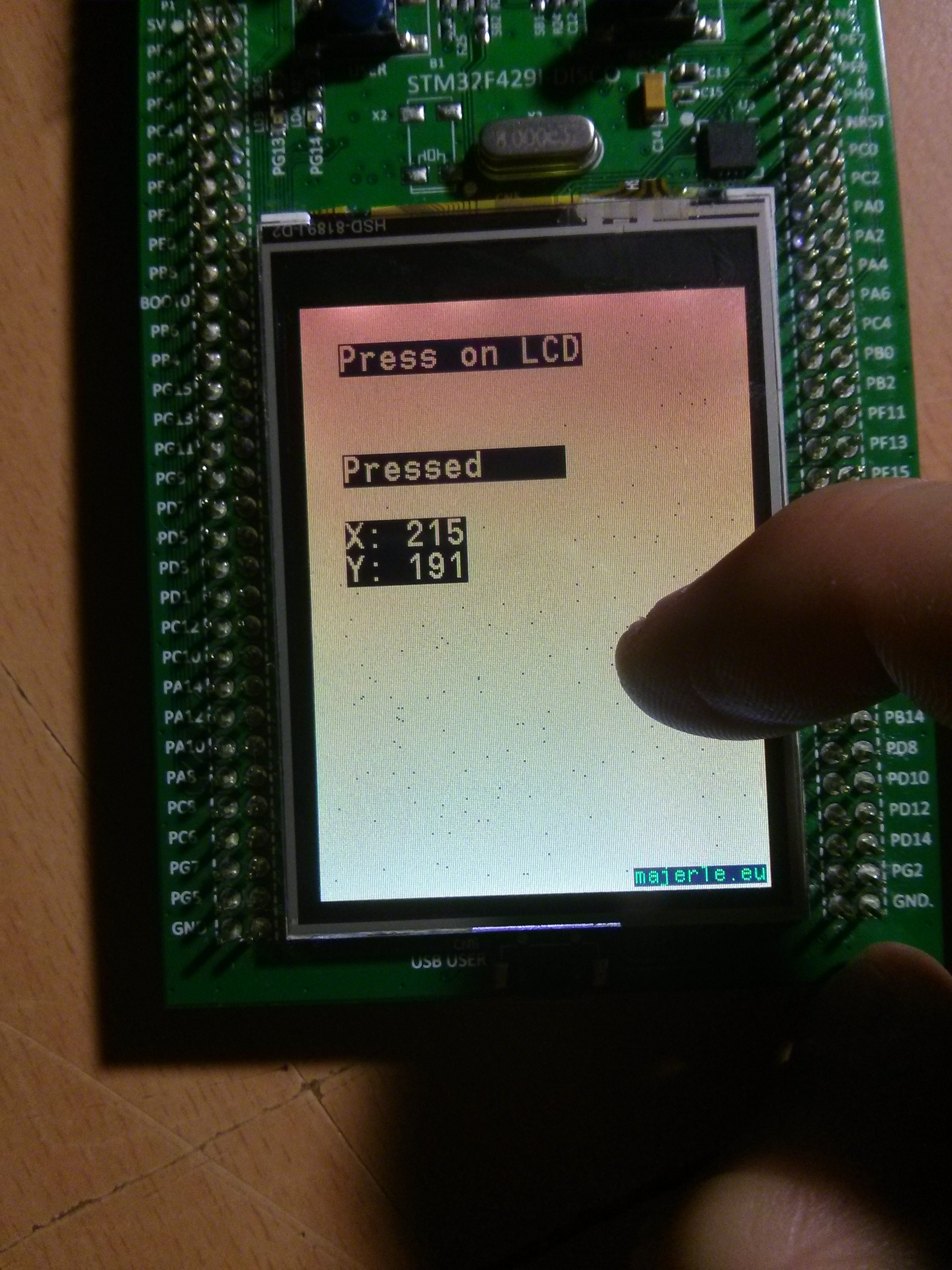 STMPE811 touch sensor on STM32F429-Discovery board
