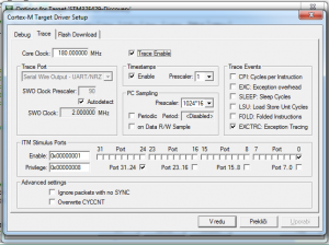 Debugger settings for trave view in Keil uVision