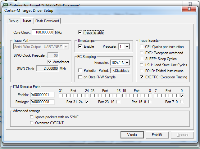 debugger settings for trave view in keil uvision stm32f4 discoverydebugger settings for trave view in keil uvision