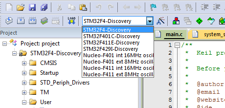 STM32F4/29 Discovery with CMSIS library in Keil uVision